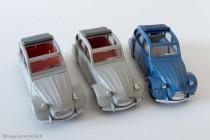 Dinky Toys 500 - Citroën 2CV 1966 - espagnole à gauche (volant noir), les 2 françaises à droite