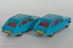 Dinky Toys 537 - Renault 16 - variantes avec et sans gouttières argentées