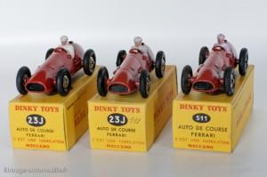 Dinky Toys 23J / 511 - Ferrari auto de course - les trois versions