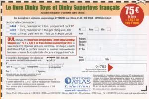 Bon de commande livre Dinky Toys - Jean Michel Roulet