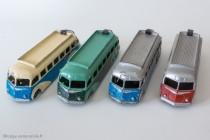 Dinky Toys 29E - Isobloc autocar - les trois variantes d'ailes et de toit - les quatre coloris