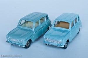Dinky Toys 518 - Renault 4L - fabriqués en France et en Espagne, deux types de calandres