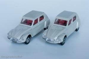 Dinky Toys 1413 - Citroën Dyane - modèle fabriqué en Espagne à gauche, en France à droite