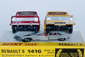 Dinky Toys 1416 - Renault 6 berline - modèle fabriqué en Espagne à droite, en France à gauche
