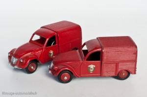 Dinky Toys 25D et 562 - Citroën 2CV fourgonnette incendie - jantes convexes et concaves