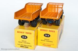 Dinky Toys 34A - Berliet benne carrière - sans puis avec support de roue de secours