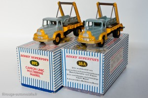 Dinky Toys 38A et 895 - Unic Izoard multibenne Marrel - 2ème et 3ème version