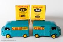 """Dinky Toys 561 - Citroën H 1200kg """"Cibié"""" - jantes convexes puis jantes concaves - les 2 types de boite"""