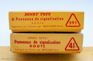 Dinky Toys 41 et 591 - Coffrets de 6 panneaux route, renumérotation