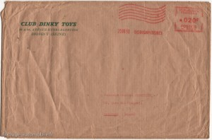 Enveloppe d'envoi du diplôme du Club Dinky Toys