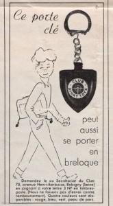 Publicité pour porte-clé cuir du Club Dinky Toys