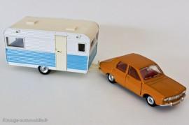 Dinky Toys ref. 564 et 1424 - Caravane Caravelair Armagnac 420 et Renault R12 berline