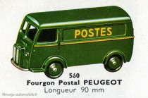 """Dinky Toys 560 - Peugeot D3A """"Postes"""" - Catalogue Dinky Toys"""