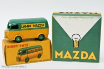 "Dinky Toys 25 B - Peugeot D3A ""Lampe Mazda"" et boite de lampe Mazda"
