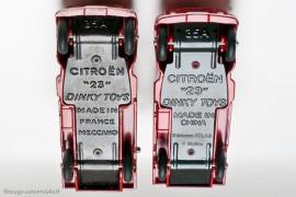 Citroën dépanneuse Dinky Toys à gauche, Atlas à droite, pas d'équivoque entre l'original et la copie chinoise