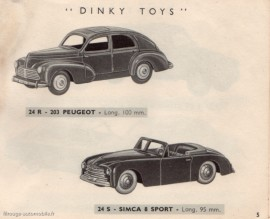 La Peugeot 203 berline sur le catalogue Dinky Toys 1954