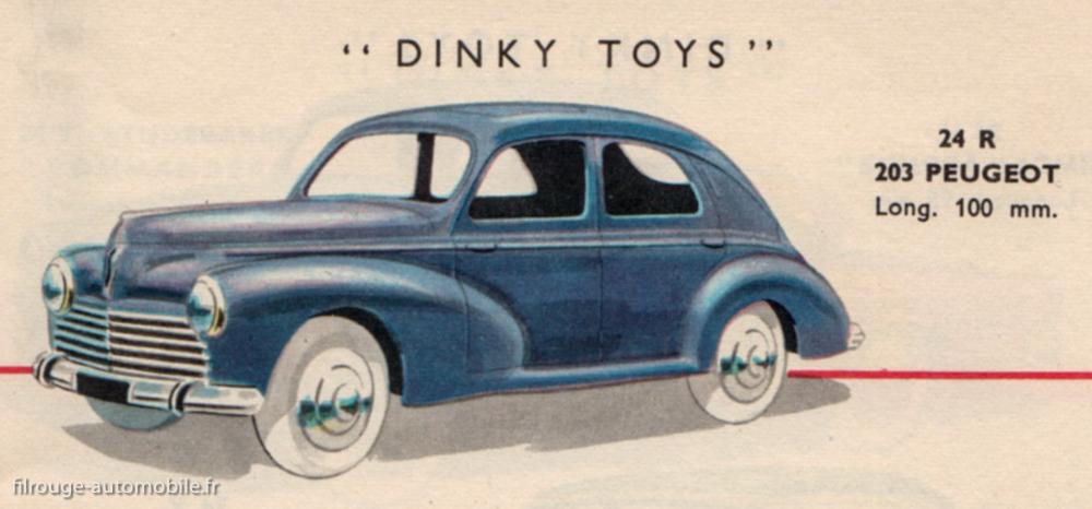 La Peugeot 203 berline sur le catalogue Dinky Toys 1956