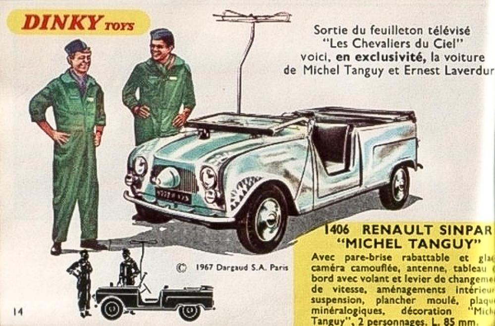 """Catalogue Dinky Toys 1968 - La Renault Sinpar """"Les Chevaliers du ciel"""" en nouveauté"""