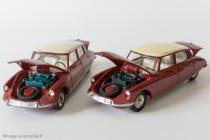 Citroën DS 19 réf. 530 - Dinky Toys à gauche et reproduction Dinky Atlas à droite