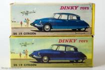 Boite de la Citroën DS 19 réf. 530 - Dinky Toys dessus et reproduction Dinky Atlas dessous