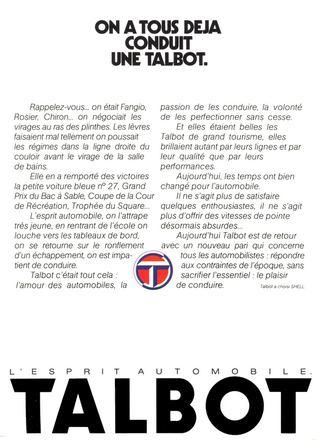 publicité Talbot en 1980