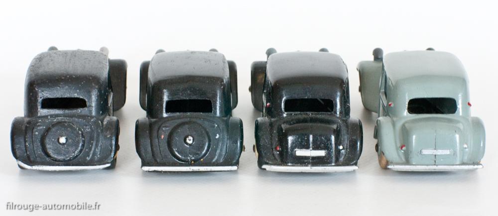 Citroën Traction Avant - Dinky Toys 24N - de gauche à droite : version 1-2, version 1-3, version 2-3, version 2-4 - Evolution visible de la taille de la lunette arrière.