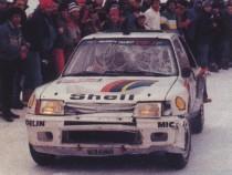 Peugeot 205 Turbo 16 - Vainqueur Rallye de Monte Carlo 1985, après sortie de route
