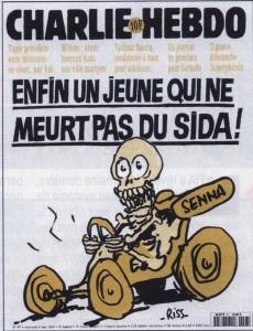 Une de Charlie Hebdo pour la mort de Senna - crédit Autohebdo