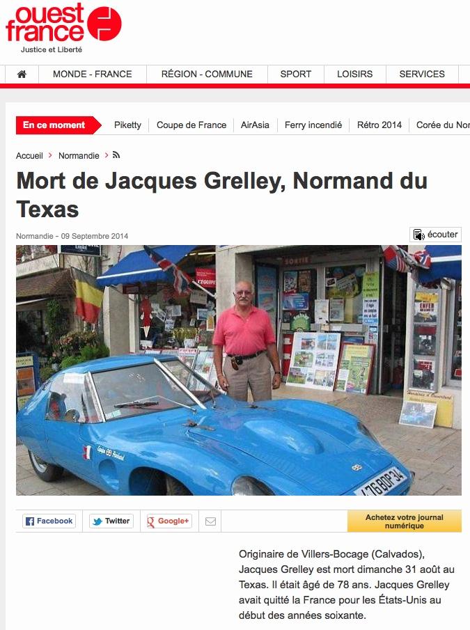 Ouest France 9/09/2014 - Décès Jacques Grelley