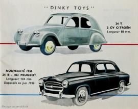 Extrait du catalogue Dinky Toys 1956 avec la Citroën 2 CV réf. 24 T