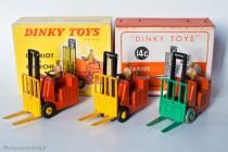 Conventry Climax chariot à fourche - Dinky Toys 14C et 597 - modèle anglais en boite française et modèles fabriqués en France