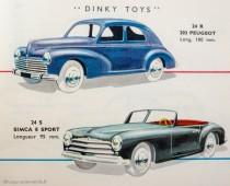 Catalogue Dinky Toys 1956 avec la Simca 8 Sport et la Peugeot 203
