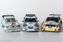 Le podium du Rallye de Monte Carlo 1986 : 1er Lancia Delta S4 - Ixo Models pour Altaya / 2ème Peugeot 205 Turbo 16 évolution - Vitesse / 3ème Audi Quattro S2 - Ixo Models pour Altaya
