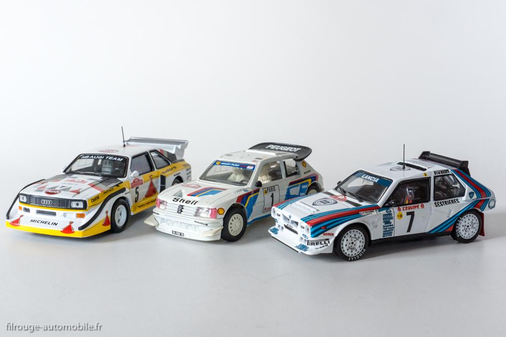 Les 3 premières du Rallye de Monte Carlo 1986 : 1er Lancia Delta S4 - Ixo Models pour Altaya / 2ème Peugeot 205 Turbo 16 évolution - Vitesse / 3ème Audi Quattro S2 - Ixo Models pour Altaya