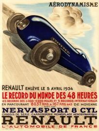 affiche Renault Nervasport 8 cylindres de record 1934 (photo Renault)
