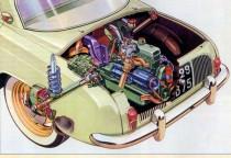 Catalogue publicitaire Renault Dauphine, éclaté sur le moteur