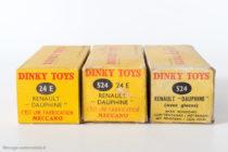 Renault Dauphine - Dinky Toys 24 E et 524 - Les trois types de boites