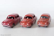 Renault Dauphine - Dinky Toys 24 E et 524 - variantes n°1, n°2 et n°4 - rouge framboise et rouge brique