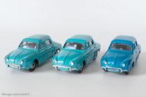 Renault Dauphine - Dinky Toys 524 - variantes n°3 et n°4 - Turquoise et bleu vif