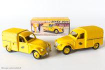 Dinky Toys réf. 560 - Citroën 2CV fourgonnette postale - jantes convexes anormales et modèle normal en jantes concaves - code 1