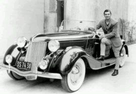 Clark Gable et sa Jensen en 1935 - crédit Wikipedia