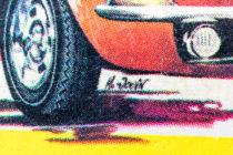 Illustration de boites Dinky Toys signée M. Jouin