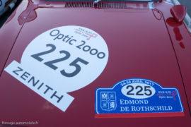 Tour Auto Optic 2000 de 2017 - plaque de rallye et numérotation affichent les sponsors