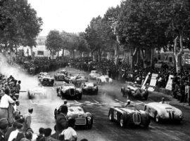 11 mai 1947 - départ de la course de Piacenza, Ferrari 125 S en première ligne à gauche