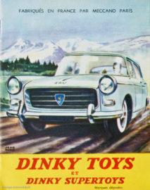 Catalogue Dinky Toys 1961 - illustration de la Peugeot 404 dans un paysage de montagne