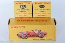 Dinky Toys 23J et 511 - Ferrari 500 F2 - les deux types de boites