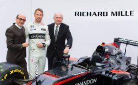 Richard Mille partenaire du team F1 Mc Laren, ici avec Jenson Button et Ron Dennis