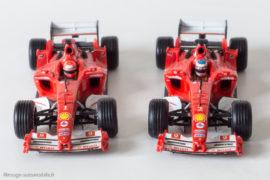Les Ferrari F 2004 de Mickaël Schumacher et Rubens Barichello - Hot Wheels au 1/43ème