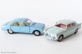 2 générations : Peugeot 404 et 504 berline - Dinky Toys France réf. 553 et 1415