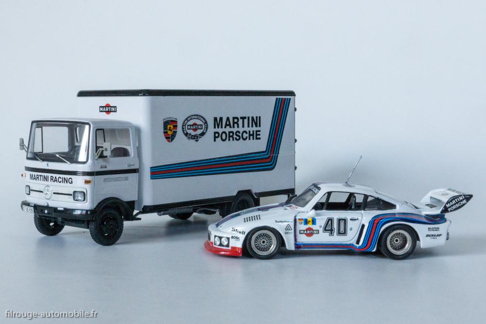 Porsche 935 de 1976 (Solido) devant le camion atelier Mercedes Benz LP 608 (Shuco)